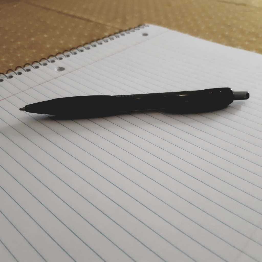 Close up of a black pen resting atop a blank page of a spiral bound notebook.