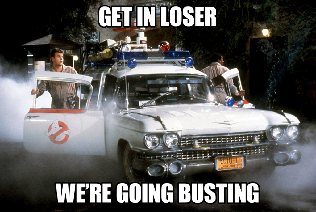 "Ernie Hudson and Dan Aykroyd getting out of the ghost buster-mobile. Text on image reads, ""Get in loser, we're going busting."""