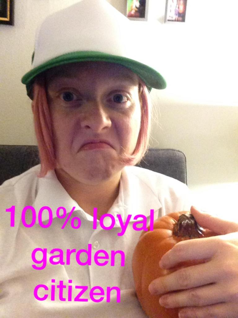 "Image of author cosplaying as Princess Bubblegum from this episode of Adventure time. I'm holding a fake pumpkin and text on the image reads, ""100% loyal garden citizen."""